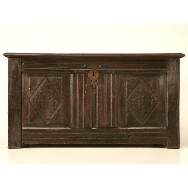 Rustic 18th C. antique French solid hardwood coffer could be easily utilized as a primitive coffee table, an extra seat...