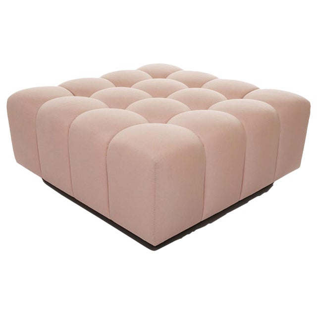 Deep Button Tufting Walnut Base Channeling Ottoman For Sale
