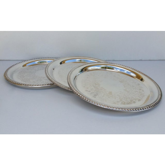 Large Silver Plate Round Platter Trays -Set of 3 - Image 3 of 11