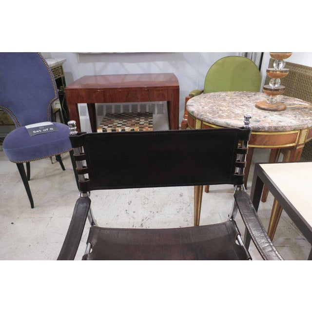 Animal Skin Pair of Chrome and Leather Directors Chairs Attributed to Maison Jansen For Sale - Image 7 of 10