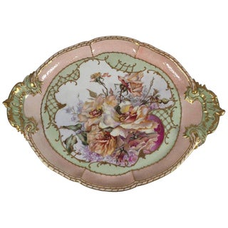 Early 1900s Hand Painted Kpm Vanity Tray With Floral Scene, Signed For Sale