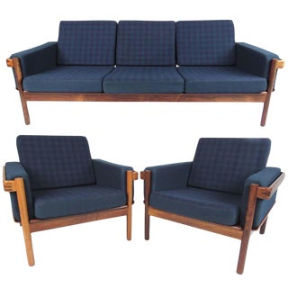 Vintage Scandinavian Modern Living Room Set With Sofa and Chairs For Sale