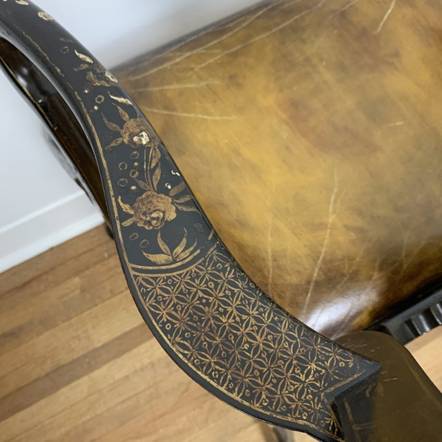 Black Japanned Chinoiserie Queen Anne Arm Chair For Sale - Image 11 of 13