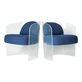 Space Age Lucite Barrel Lounge Chairs - a Pair For Sale