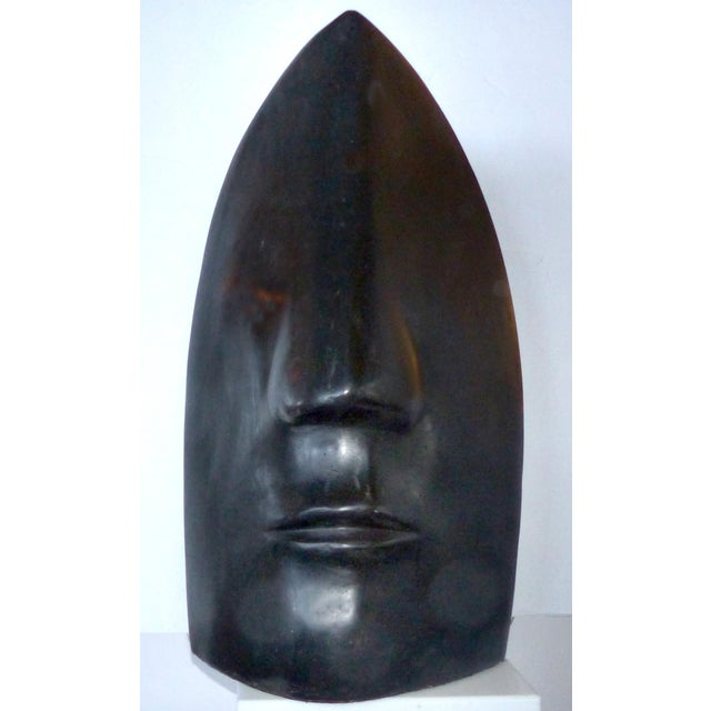 Large Ceramic Figurative Sculpture of a Face by Mexican Artist Yuri Zatarain For Sale - Image 10 of 10