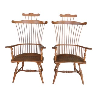 Duckloe & Bros Fan High Comb Back Windsor Arm Chairs - a Pair For Sale