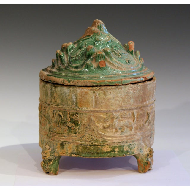 Antique Chinese Han Dynasty (206 BC-220 AD) pottery hill jar and cover in iridized green glaze. Label from William Lipton...