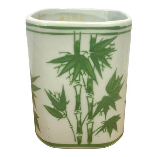 Hand Painted Green Bamboo Ceramic Desk Jar or Vase For Sale