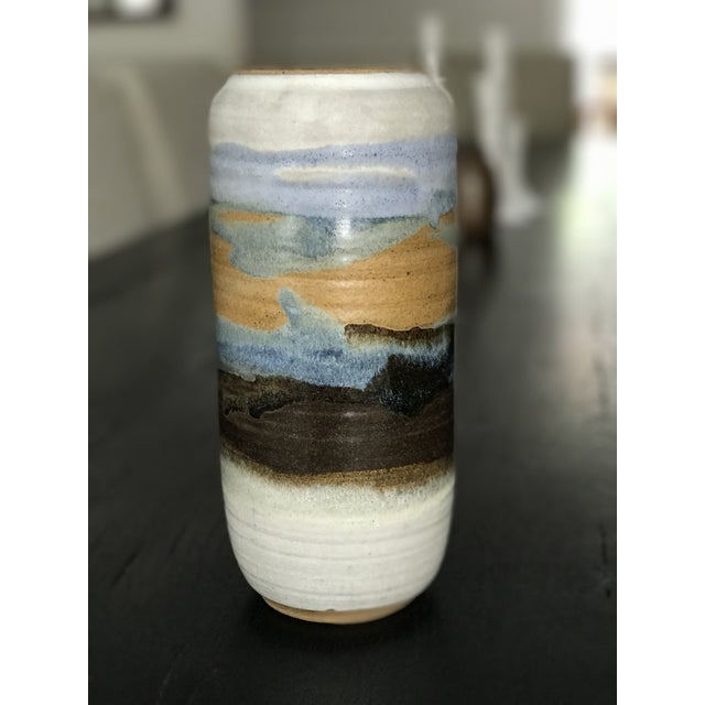 This is a beautiful vintage Hazelton Jones studio art pottery drip glaze vase. Colors are gorgeous blue, green, whitish...