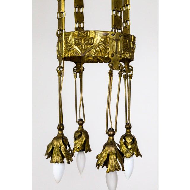 Vienna Secession Nouveau Brass Chandelier W/ Square Chain & Foliage For Sale - Image 10 of 13