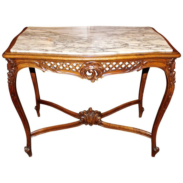 Brown French Louis XV Style Marble-Top Library Table For Sale - Image 8 of 8