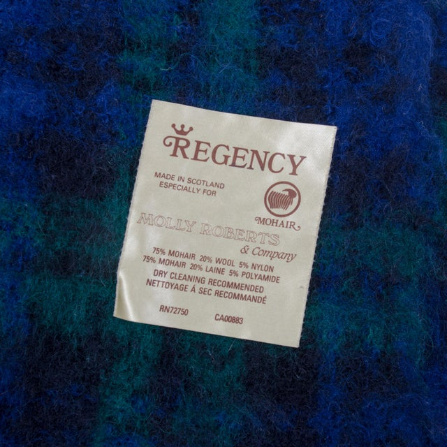 Regency for Molly Roberts Plaid Mohair Blanket For Sale - Image 4 of 5