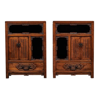 18th C. Chinese Elm Side Cabinets - a Pair For Sale
