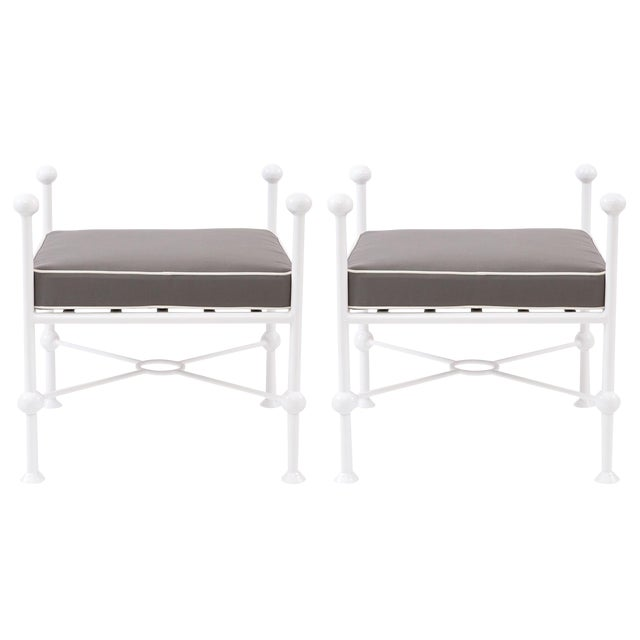 1970s Vintage Iron and Upholstered Ottomans- A Pair For Sale