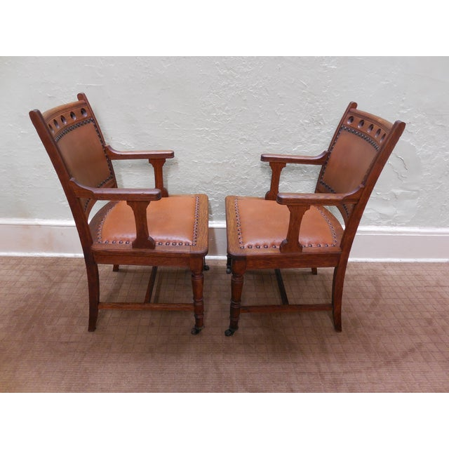 Antique Victorian Oak Dining Chairs - Set of 4 - Image 3 of 10