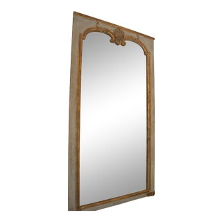19th Century French Painted Trumeau Mirror With Original Glass For Sale