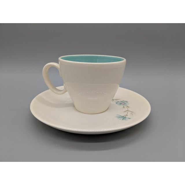 "Mid-Century Taylor Smith & Taylor ""Boutonniere"" Teacup and Saucer, Cream With Turquoise Interior - a Set For Sale - Image 4 of 6"