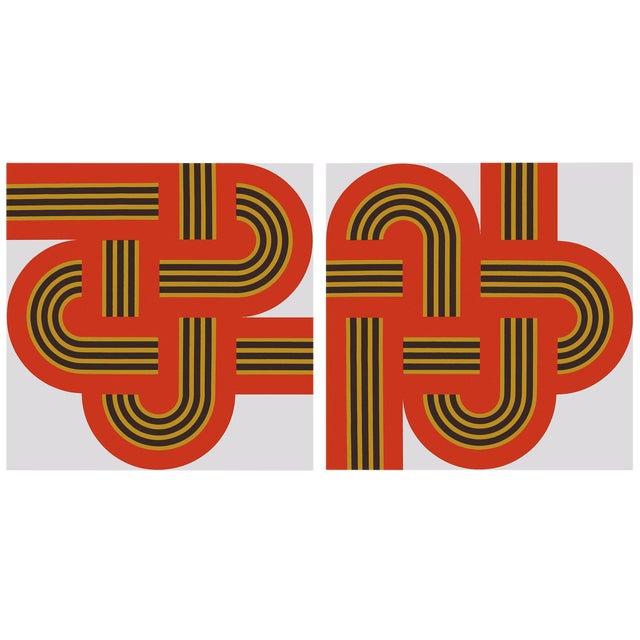 """Weave"" Original 1970s Red Silk-Screens - A Pair - Image 1 of 2"
