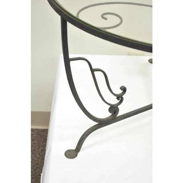 Vintage Salterini Wrought Iron Art Nouveau Deco Patio Garden Round Coffee Table For Sale - Image 5 of 10