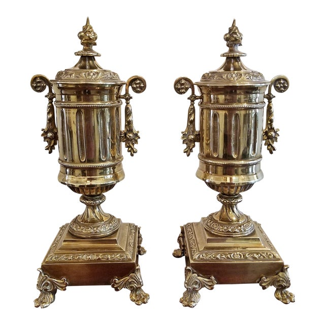 Pair of 19c French Neoclassical Style Brass Garnitures For Sale