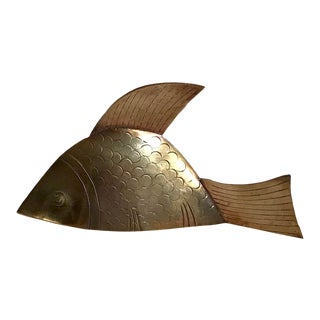 Vintage Brass Fish Shaped Bell For Sale