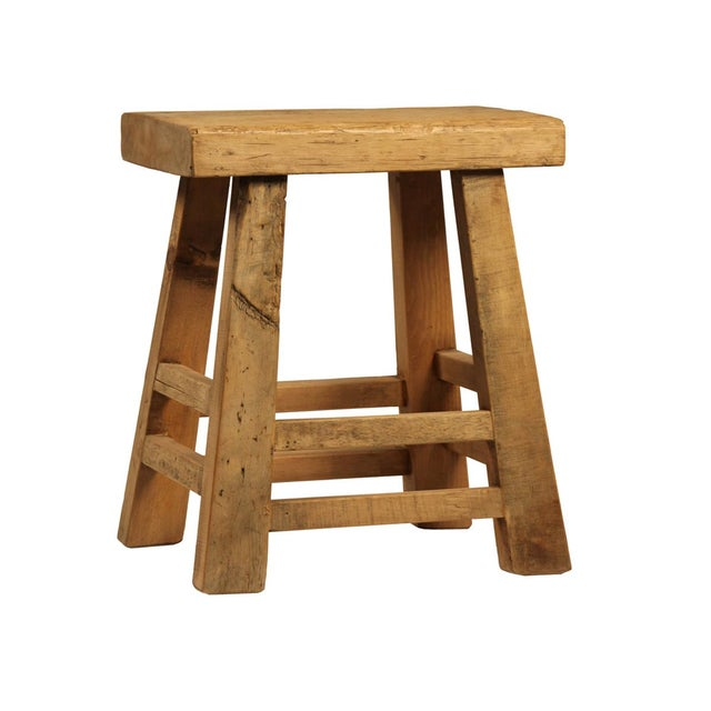 Rustic reclaimed wood stool chairish for Buy reclaimed wood los angeles