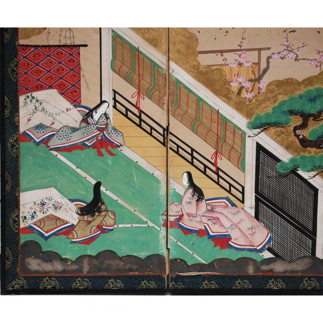 Gold Leaf 17th C. Japanese the Tale of Genji Byobu Screen For Sale - Image 7 of 13