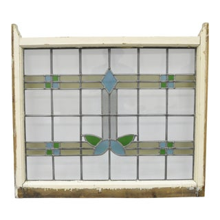1900's Antique Stained Glass Architectural Salvage Window