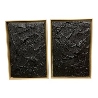 Original Artwork Black + Gold Sculptural Diptych Paintings - a Pair For Sale