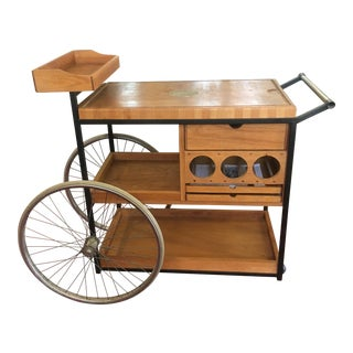 1960s Bill Saunders Umnoff Design 9 Drawer 3 Wheel Bar Serving Cart For Sale