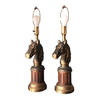 Vintage Equestrian Horse Lamps - a Pair For Sale