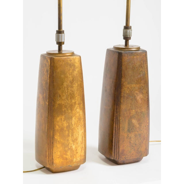 Stewart Ross James Pair of Bronze Tapered Column Table Lamps by Hansen For Sale - Image 4 of 9