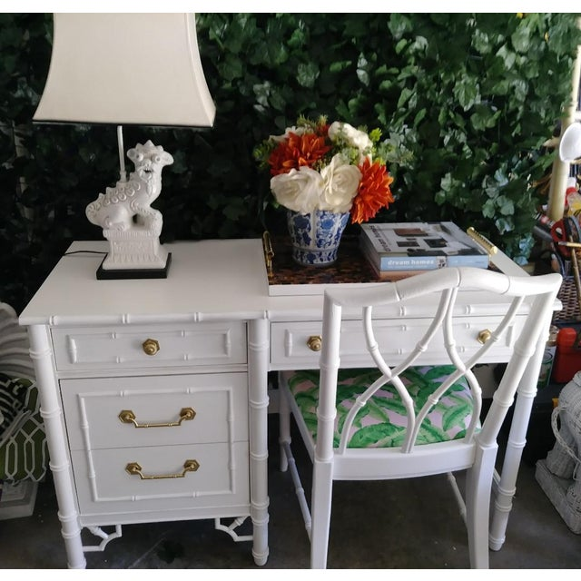1970s Thomasville Vintage Faux Bamboo Palm Beach Regency White High Gloss Desk W/Chair For Sale - Image 5 of 10