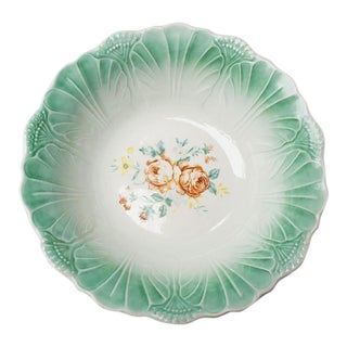 Round Green Ceramic Cabbage Leaf Serving Bowl With Floral Pattern For Sale