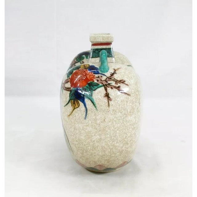 Japanese Antique Kutani Floral Vase For Sale - Image 3 of 11