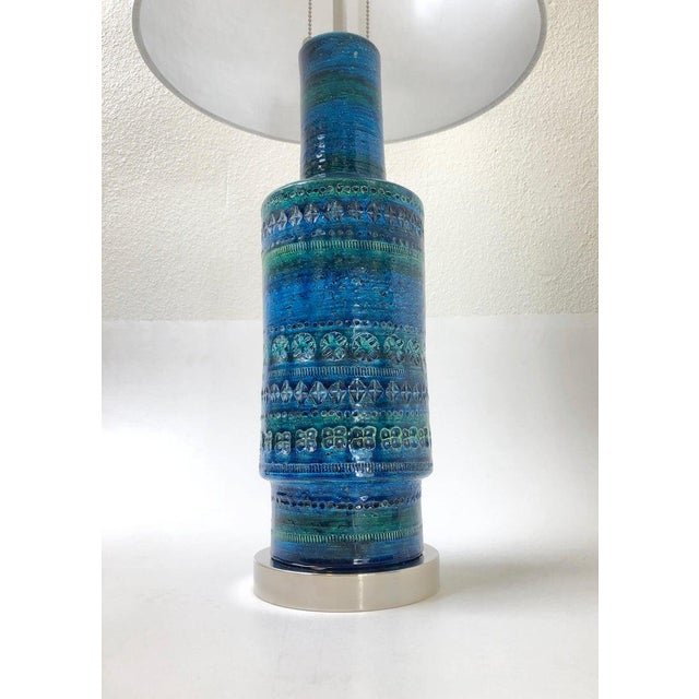 Rare Pair of Rimini Blue Italian Ceramic and Nickel Table Lamps by Bitossi For Sale - Image 10 of 11