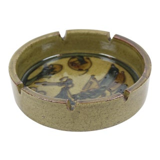 1960s Japanese Hand Thrown Ceramic Ashtray With Bird and Flowers For Sale