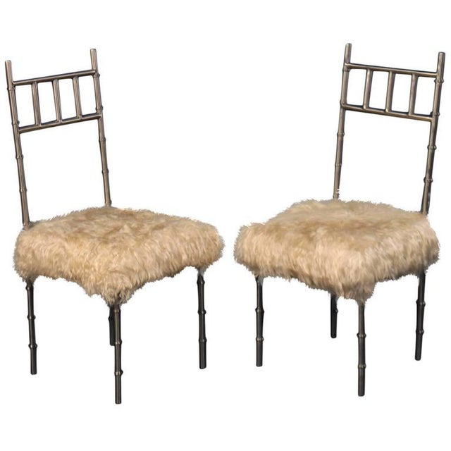 Nickel over Iron Bamboo Chairs with Goat Fur Seats - A Pair - Image 6 of 6
