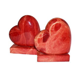 1950s Vintage Italian Red Alabaster Stone Heart Bookends - a Pair Preview
