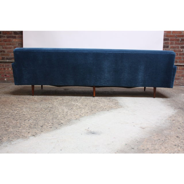 Milo Baughman for Thayer Coggin Walnut Sofa in Blue Mohair For Sale - Image 9 of 13