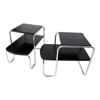 Pair of Art Deco Bauhaus Chrome and Black Lacquer Step End Tables For Sale