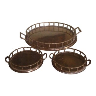 Vintage Brass Faux Bamboo Trays - Set of 3 For Sale