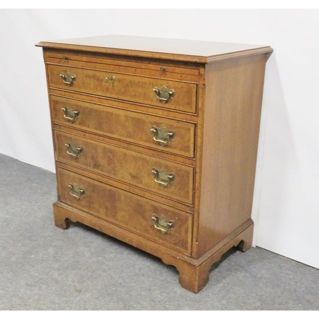 Baker Furniture Company Baker Chippendale Burl Walnut Bachelor Chest For Sale - Image 4 of 8