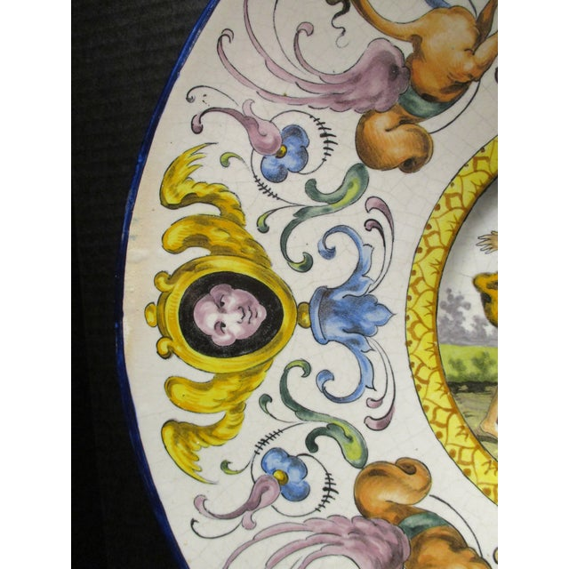Late 19th Century Italian Majolica Hand Painted Semi Nudes Impressed Ad Charger For Sale In Miami - Image 6 of 13
