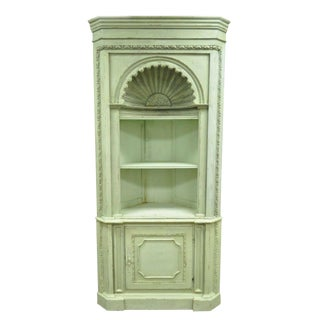 20th Century French Country Green Distress Painted Corner Cabinet Cupboard For Sale