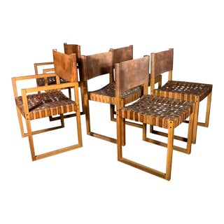Set of Six Danish 1970 Woven Leather & Oak Dining Chairs For Sale