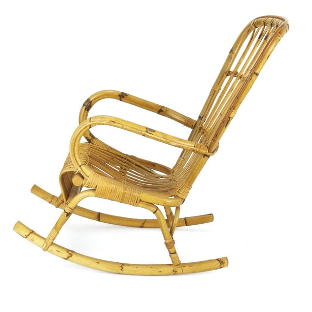 1950s Franco Albini Style Rattan Bamboo Rocking Chair - Image 5 of 5