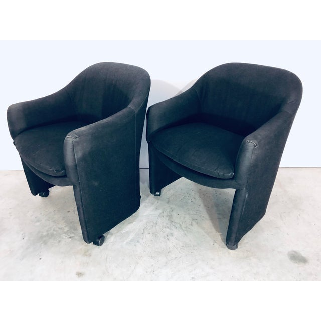 Thayer Coggin Black Denim Dining Arm Chairs- a Pair For Sale In Miami - Image 6 of 13