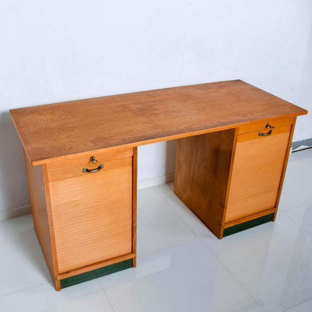 For your pleasure: Vintage Möbelfabrik Desk in Blonde Wood by Adolf Maier. Made in Germany. The desk retains bronze...