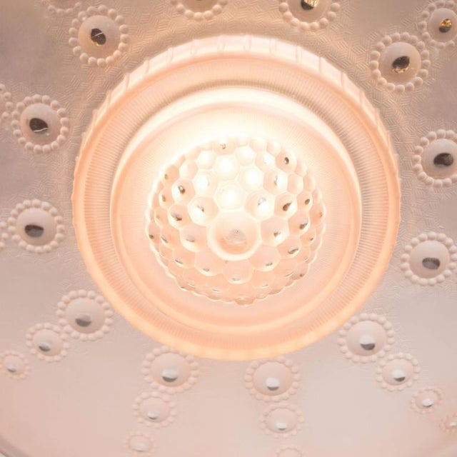 French Art Deco Inverted Dome Chandelier by Georges Leleu in Frosted Rose Glass For Sale - Image 9 of 11